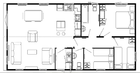 Three bedroom lodge layout,