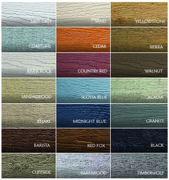 Canexel Colour range for Lodge Cabins