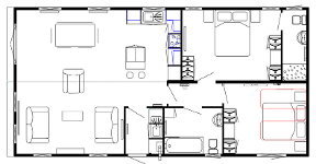 Two bedroom lodge layout