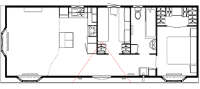 40' x 14' two bedroom lodge layout